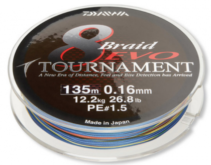 Плетено Влакно Daiwa TOURNAMENT 8 BRAID EVO - 135м / multi color